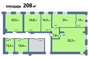 схема а эетаже 208 кв м с метражами